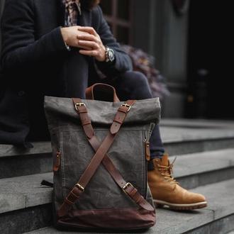 """Рюкзак роллтоп """"Glasgow"""" с отделением для ноутбука. Унисекс. Вощеный хлопок и натуральная кожа."""
