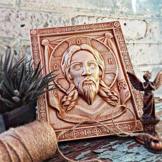 Резная икона из дерева «Иисус Христос. Спас нерукотворный»