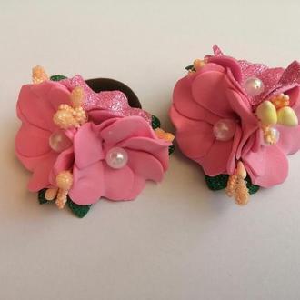 Резинка для волос, цветок розовая