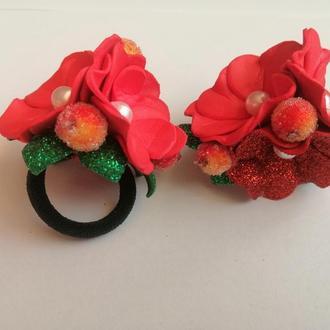 Резинка для волос, цветок, красная