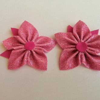 Заколка для волос, цветок, розова глітерний фоаміран.