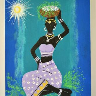 Картина Африканская девушка на холсте 24х18 Живопись акрилом