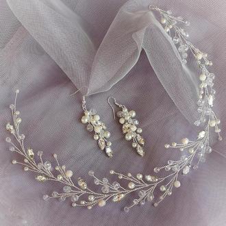 Свадебное украшение для волос, веточка в прическу, украшение в прическу, ободок, венок свадебный