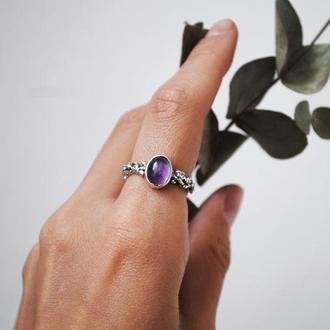 Кольцо с аметистом 17 размер