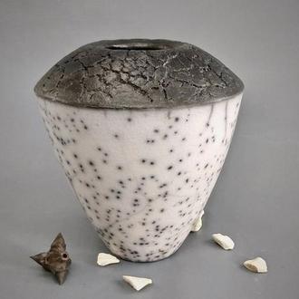 Современная керамическая ваза, Nacked Raku, высота 16 см, арт.№48