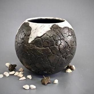 Современная керамическая ваза для цветов Raku ручной работы, высота 16 см, арт.№49