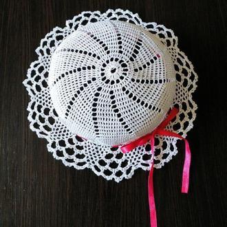 шляпка детская белый/ шляпка для девочки/детская шляпка