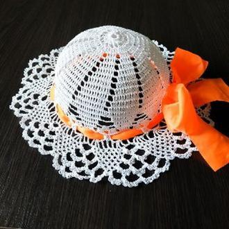 шляпка детская на девочку/капелюшок дитячий білий з бантом