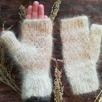 Митенки из собачьей шерсти натуральная шерсть рукавицы ЭКО теплые