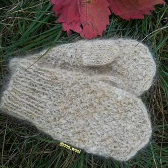 Теплые детские рукавицы из собачьей шерсти мягкие зимние Эко