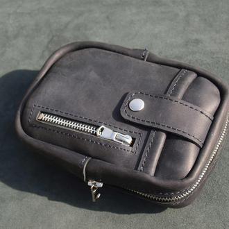 Мужская кожаная сумка на ремень/ через плече Fast Case T-1