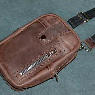 Кожаная сумка на ремень/ через плече Fast Case T-1, темно-коричневый цвет
