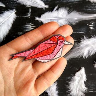Полігональна брошка рожева Пташка. Авторська брошка Птах. Геометрическая брошь Птичка