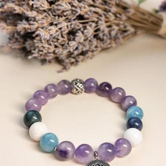 Браслет из натуральных камней, браслет из аметиста, кварца, яшмы и нефрита, браслет на подарок