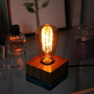 Настольный светильник в стиле лофт. Космос.Лампа Эдисона.Декор в спальню.Подарок жене