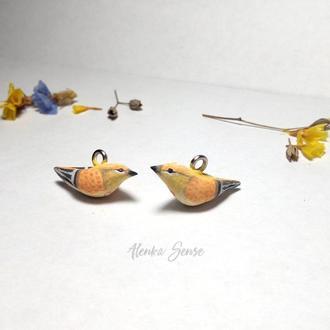 """Серьги """"Персиковые птички"""" оригинальные серьги птицы подарок украшение"""