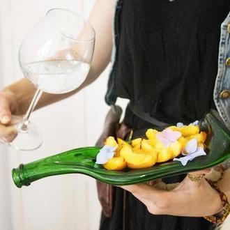 Сплюснутая бутылка от шампанского Champagne Green стекло