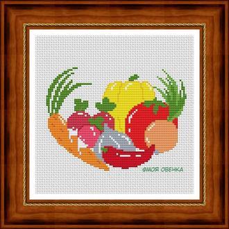 """Схема для вышивки крестом """"Сочные овощи"""""""