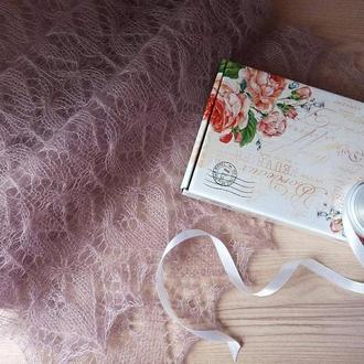 Палантин цвета пыльной розы из мохера
