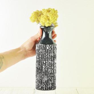 Черная Керамическая ваза в стиле ар-деко ваза,высота 25 см, арт.№54