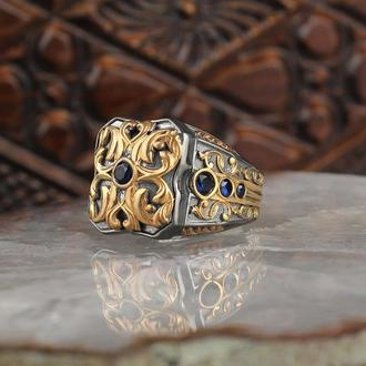 Мужское серебряное кольцо 925 пробы с позолотой ручной работы Микрокамни