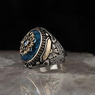 Турецкие кольца с синим цирконом Серебро 925 пробы