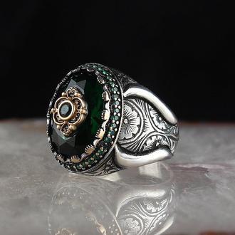 Турецкие перстни с полудрагоценными камнями  Серебро 925 пробы