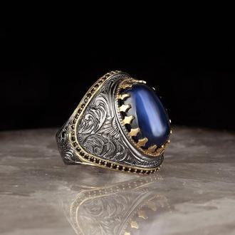 МУЖСКОЙ перстень 925 ПРОБЫ из серебра позолоченный с камнем и гравировкой