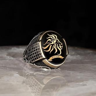 Печатка на палец Эмаль из серебра  мужская