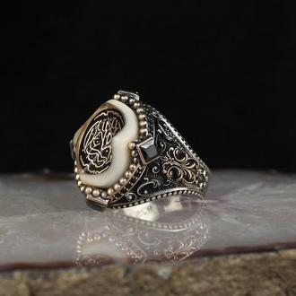 Кольцо на правую руку мусульманское арабское  из серебра