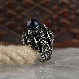 Кольцо 925 пробы на безымянный палецс Янтарем