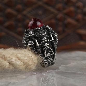 Перстень Ая Софья 925 пробы с янтарем на палец