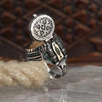 Перстень мужской  из серебра 925 пробы с открывающейся крышкой