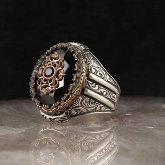 Мужской серебряный перстень 925 пробы с гравировкой