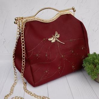 Красная сумка   марсала кожанная  сумка екокожа с вышивкой тренд