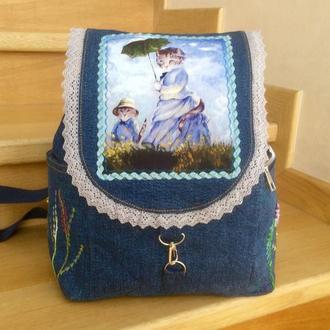 Джинсовый рюкзак «Тетя Кошка»