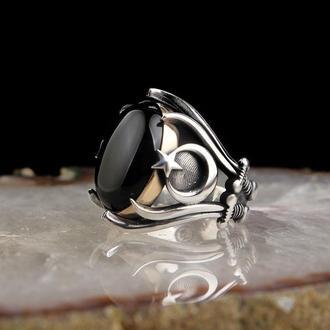 Серебряное кольцо камень Черный Ониксмастера из Турции