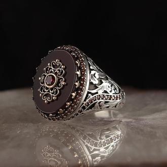 Перстень чоловічий з срібла 925 проби Агат