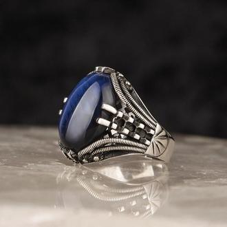 Турецкий перстень ювелирный ручной работы для мужчин Синий янтарь