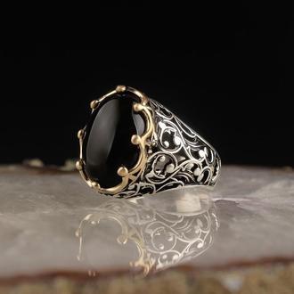 Изысканный перстень мужской серебряный ручной работы 925 пробы Черный Оникс