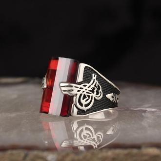 Винтажный перстень  из серебра 925 пробы Красный камень