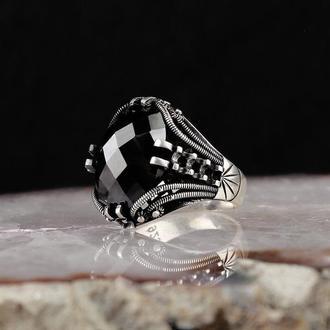 Утонченное, детальное кольцо из серебра 925 пробы ручной работы Камень Черный циркон