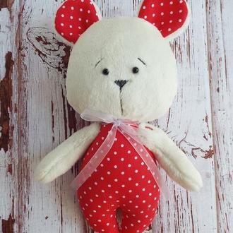 Плюшевый мишка в горошек - мягкая игрушка