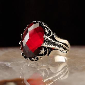 Эксклюзивное кольцо из серебра 925 пробы ручной работы Красный циркон Полумесяц и звезда