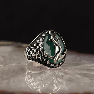 Серебряное кольцо с зеленым камнем Агат эмблема Якорь Морская тематика ручной работы 925 пробы