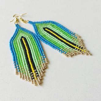 Яркие длинные бисерные серьги, серьги из бисера, салатово-голубые серьги