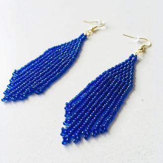 Синие бисерные серьги, серьги из бисера, длинные синие серьги, синие серьги кисточки
