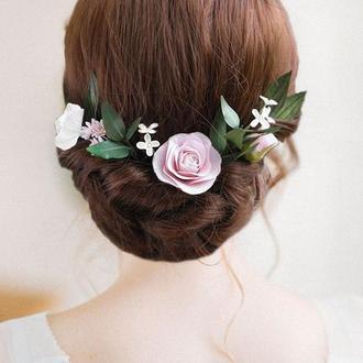 Шпильки для волос с пудрово-розовыми и белыми цветами и зеленью / Свадебные шпильки с розами