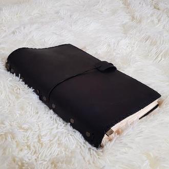 Мягкий кожаный блокнот со сменными листами. Софтбук на резинках