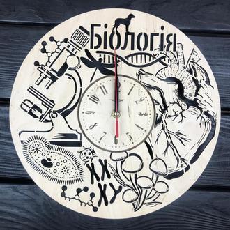 Деревянные часы на стену в кабинет биологии
